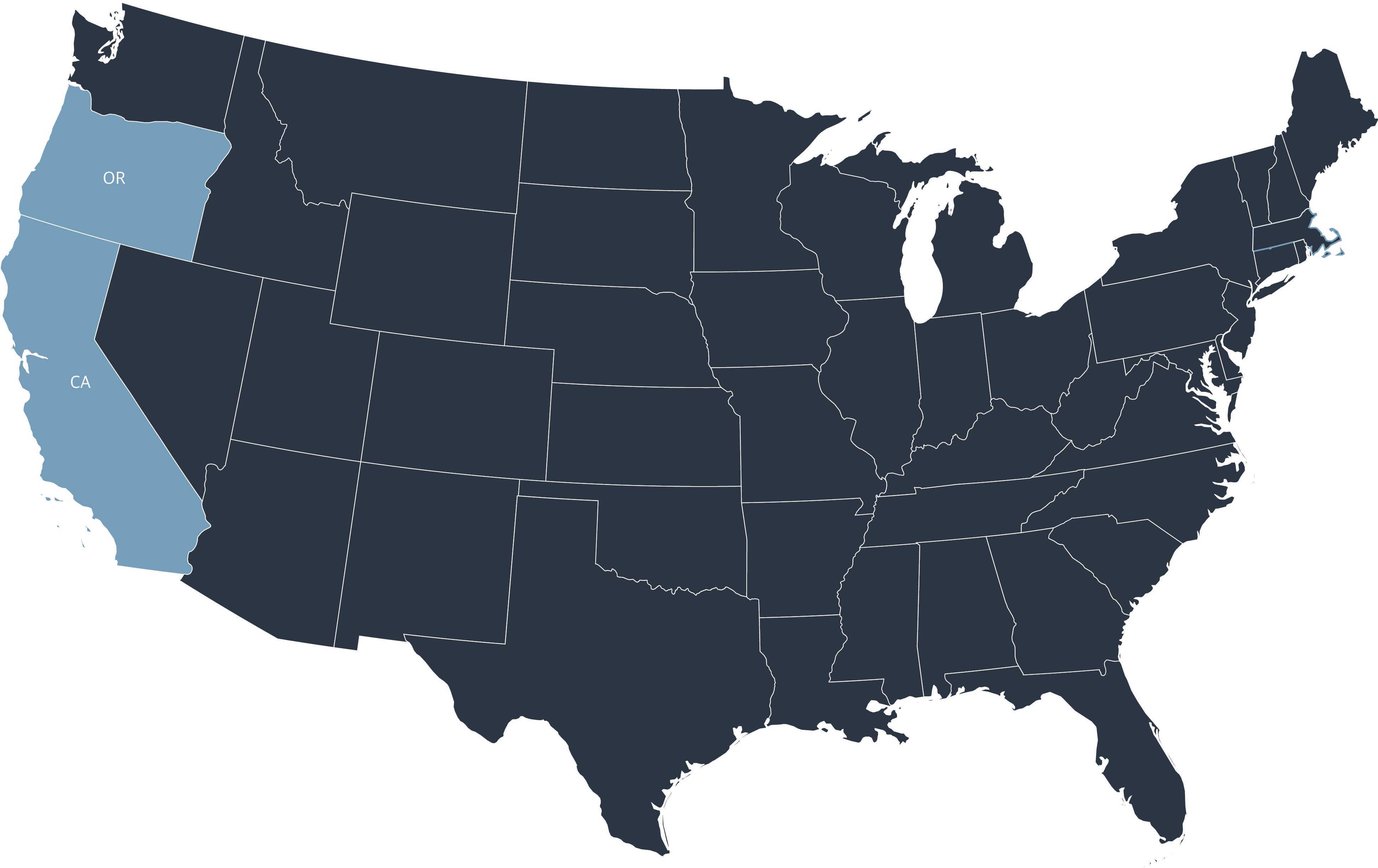 Map of the USA showing LCFS states