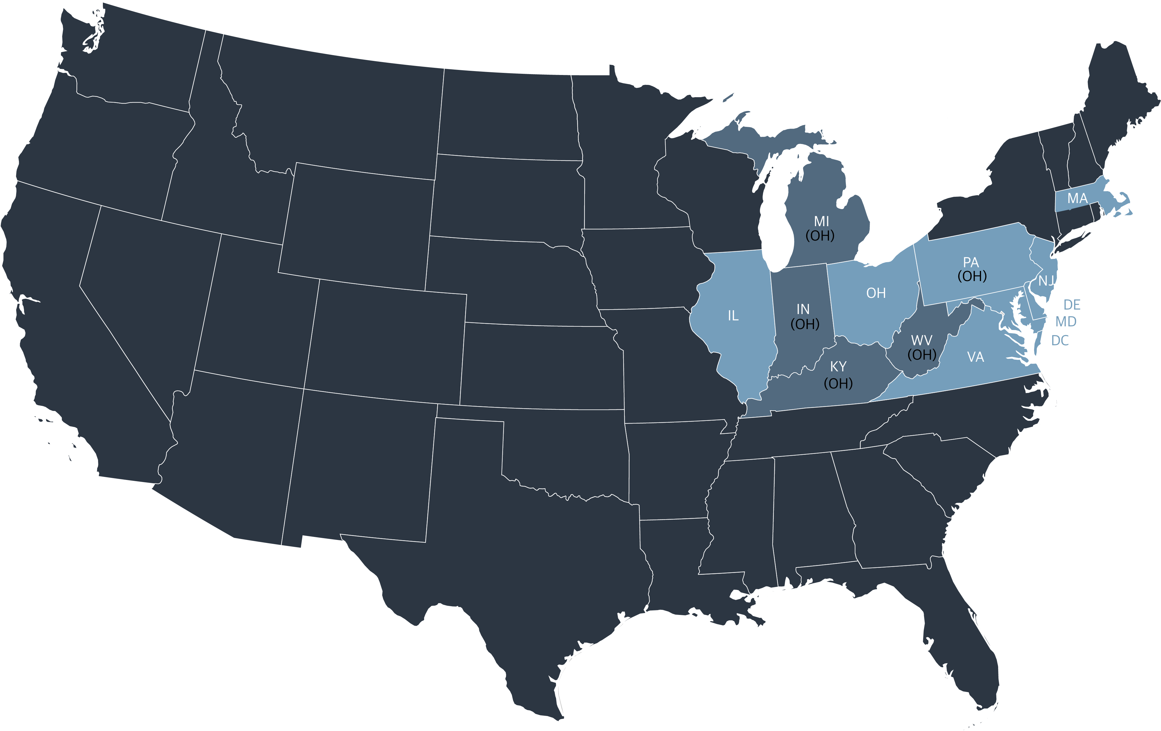 Map of the USA showing SREC states